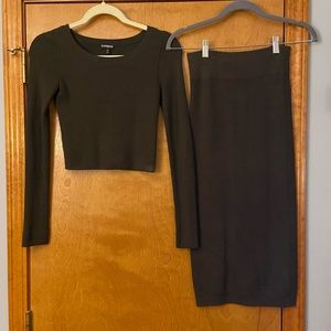 Express Cropped Sweater & Skirt set